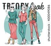 vector set with trendy girls | Shutterstock .eps vector #400049086