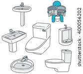 vector set of sanitary ware | Shutterstock .eps vector #400056202