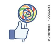 like thumbs up hand hold candy... | Shutterstock .eps vector #400063366