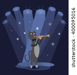 cat trumpeter with the pipe.... | Shutterstock .eps vector #400095016