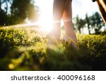 girl on tiptoes reaching for a... | Shutterstock . vector #400096168