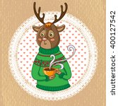 funny illustration.cute deer... | Shutterstock .eps vector #400127542