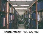 bookshelf in public library...   Shutterstock . vector #400129702