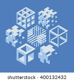 set of abstract 3d cubical... | Shutterstock .eps vector #400132432