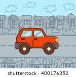 4wd car in the city. vector... | Shutterstock .eps vector #400176352