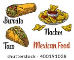 mexican traditional food set... | Shutterstock .eps vector #400191028