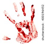 Small photo of Bloody handprint isolated on white background