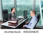 business woman explaining... | Shutterstock . vector #400204825