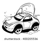 car wash. black and white... | Shutterstock .eps vector #400205536