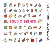 hand drawn food and drinks... | Shutterstock .eps vector #400207186