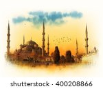 Blue Mosque At Sunset  Istanbu...