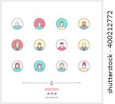 color line icon set of people... | Shutterstock .eps vector #400212772