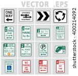 traffic signs road in usa. | Shutterstock .eps vector #400214092