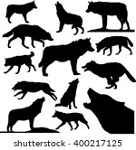Stock vector wolves outline collection 400217125
