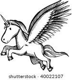 doodle sketchy unicorn vector | Shutterstock .eps vector #40022107