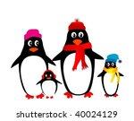 penguin family vector | Shutterstock .eps vector #40024129