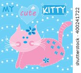 cute rose kitty with dots and... | Shutterstock .eps vector #400241722