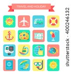 travel and holiday icons. set... | Shutterstock . vector #400246132
