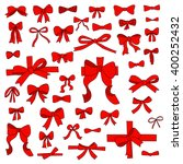 doodle set of red bows  ribbons | Shutterstock .eps vector #400252432