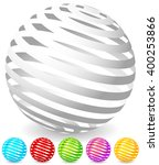 Striped spheres in 6 colors. 3d geometric orbs, balls. Generic icons, design elements.