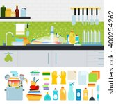 unwashed dishes vector flat... | Shutterstock .eps vector #400254262