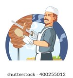 cook at work  cooking kebab... | Shutterstock .eps vector #400255012