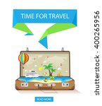 open suitcase with exotic... | Shutterstock .eps vector #400265956