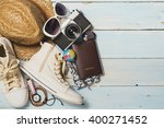 overhead view of woman's casual ... | Shutterstock . vector #400271452