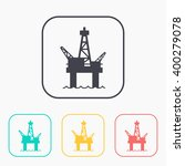oil platform color icon set    Shutterstock .eps vector #400279078