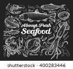 seafood. hand drawn sketch of a ... | Shutterstock .eps vector #400283446