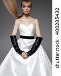 parisian fashion bride model....   Shutterstock . vector #400285432