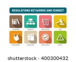regulations flat icon set | Shutterstock .eps vector #400300432