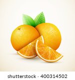 fresh oranges fruits with green ... | Shutterstock .eps vector #400314502