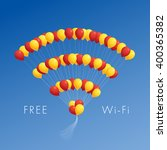 balloons in the form of wi fi... | Shutterstock .eps vector #400365382