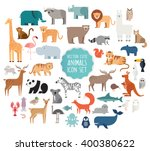 Stock vector cute animal vector illustration icon set isolated on a white background 400380622