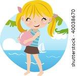 cute girl at the beach   Shutterstock .eps vector #40038670