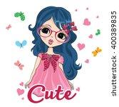cute girl   Shutterstock .eps vector #400389835