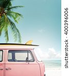 vintage car parked on the... | Shutterstock . vector #400396006