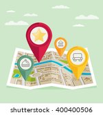 gps map pointers on the map... | Shutterstock .eps vector #400400506