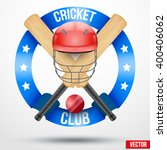 cricket bats and helmet with... | Shutterstock .eps vector #400406062