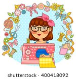 girl using a sewing machine...   Shutterstock .eps vector #400418092