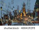 Digital Painting Of City At...