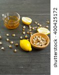 cup of chamomile tea with dried ...   Shutterstock . vector #400425172