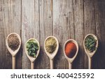 aromatic herbs and spices on... | Shutterstock . vector #400425592