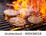 hamburgers and hot dogs cooking ... | Shutterstock . vector #400438018
