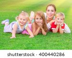 happy big family having fun... | Shutterstock . vector #400440286