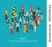 Isometric people poster with mix of different men and women in crowd on blue background vector illustration | Shutterstock vector #400440616