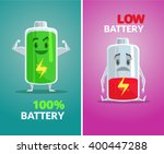 low battery and full battery.... | Shutterstock .eps vector #400447288