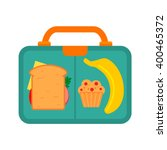 lunch box with school lunch ... | Shutterstock .eps vector #400465372
