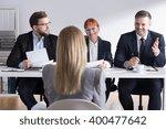 three employers interviewing... | Shutterstock . vector #400477642